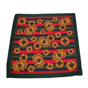 Gorgeous Emerald Green Red Gold Polyester Scarf